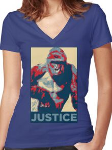 Harambe: Justice Women's Fitted V-Neck T-Shirt