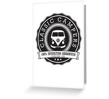 Retro Badge Black VW Classic Greeting Card
