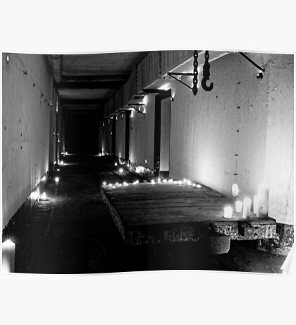 WWII Bunker in B&W Candlelight Poster