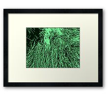Abstract Green & Black Lines Pattern Framed Print