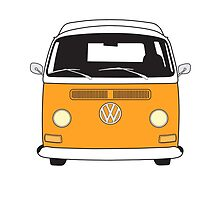 Early Bay VW Camper Front Orange by splashgti