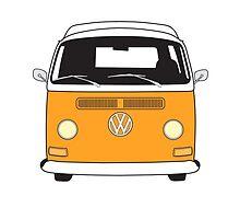 Early Bay VW Camper Front Orange by splashgti