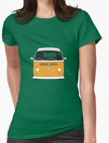 Early Bay VW Camper Front Orange Womens Fitted T-Shirt