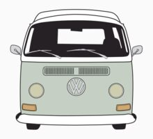 Early Bay VW Camper Front Pale Green Kids Tee