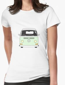 Early Bay VW Camper Front Pale Green Womens Fitted T-Shirt