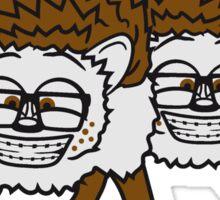 2 freunde team nerd geek hornbrille pickel freak spange schlau intelligent grinsen lustig comic cartoon süßer kleiner niedlicher igel  Sticker