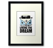 VW Camper Living The Dream Pale Blue Framed Print