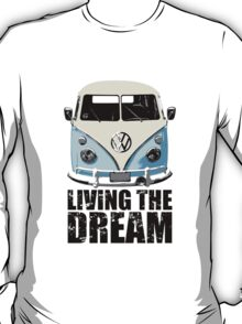 VW Camper Living The Dream Pale Blue T-Shirt