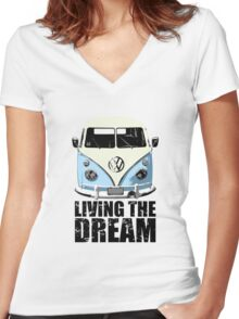 VW Camper Living The Dream Pale Blue Women's Fitted V-Neck T-Shirt