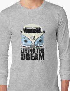 VW Camper Living The Dream Pale Blue Long Sleeve T-Shirt