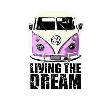 VW Camper Living The Dream Pink Photographic Print