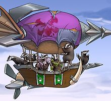 Badgers on a Zeppelin by Squeazl