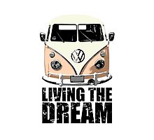 VW Camper Living The Dream Apricot Photographic Print