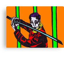 Man Holding Kendo Sword in TechnoColour Canvas Print