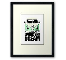 VW Camper Living The Dream Green Framed Print