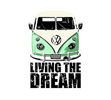 VW Camper Living The Dream Green Photographic Print
