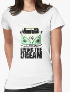 VW Camper Living The Dream Green Womens Fitted T-Shirt
