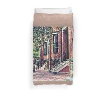 Boston MA - Walking the Dog on Mount Vernon Street Duvet Cover