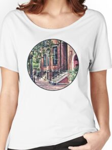 Boston MA - Walking the Dog on Mount Vernon Street Women's Relaxed Fit T-Shirt