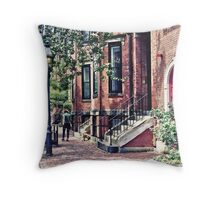 Boston MA - Walking the Dog on Mount Vernon Street Throw Pillow