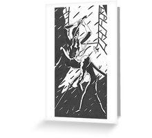 Ninja Face Off (in deep dark alley...) Greeting Card