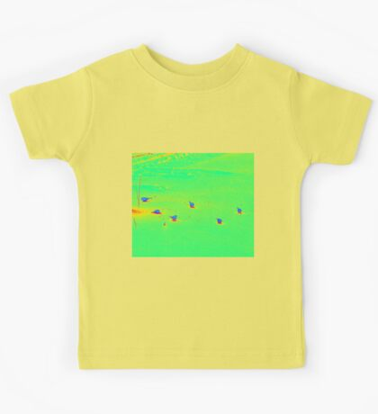 Cute little Birds eating seeds on the ground Kids Tee