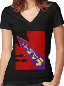 Shin Godzilla Abstract Toy version Women's Fitted V-Neck T-Shirt