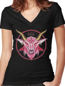 Pink Baphomet Women's Fitted V-Neck T-Shirt