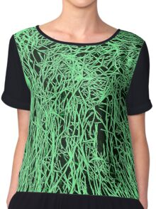 Abstract Green & Black Lines Pattern Chiffon Top