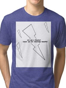 Pikachu Pickup Line- Poke Jokes Tri-blend T-Shirt