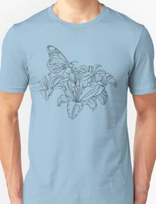 Butterflies and Flowers Continuous Line Drawing Unisex T-Shirt