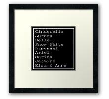 Disney Princess List Framed Print