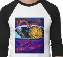 Danger Crumples In a Car with a Skeleton Men's Baseball ¾ T-Shirt