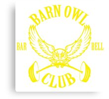 Barn Owl Barbell Club Yellow Canvas Print