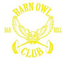 Barn Owl Barbell Club Yellow Photographic Print