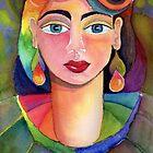Rainbow girl in watercolour by Karin Zeller