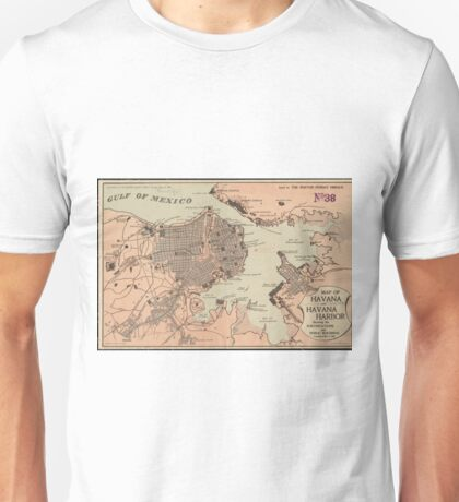 Vintage Map of Havana Cuba (1898) 2 Unisex T-Shirt