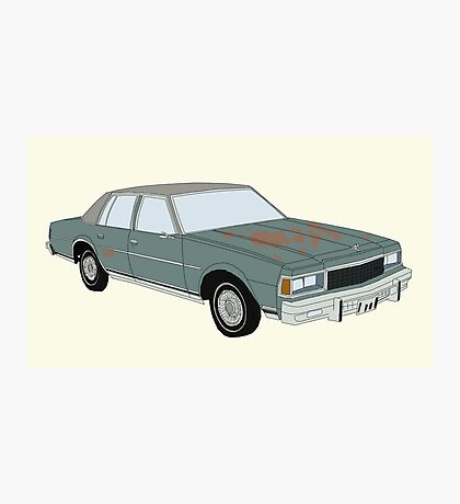 Hand Drawn Vintage Chevy Caprice 1980s Sedan Photographic Print