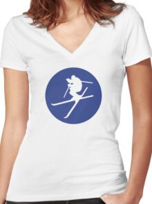 Freestyle skiing Women's Fitted V-Neck T-Shirt