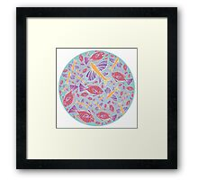 Template with cartoon fishes Framed Print