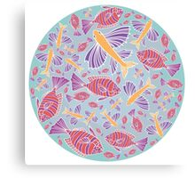 Template with cartoon fishes Canvas Print