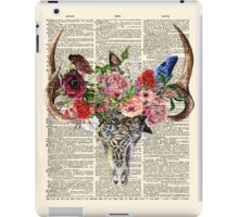 Skull & Flowers on Vintage Dictionary Page iPad Case/Skin