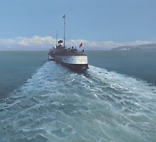 Old Harry Rocks with Paddle Steamer. by Richard Picton
