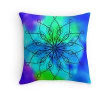 Blue and Green Mandala Throw Pillow