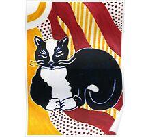 Content Tuxedo Cat Poster