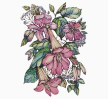 Red Trumpet Vine flowers on blue One Piece - Long Sleeve