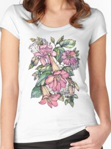 Red Trumpet Vine flowers on blue Women's Fitted Scoop T-Shirt