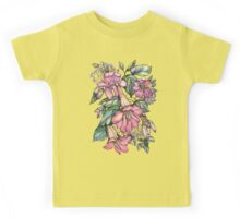 Red Trumpet Vine flowers on blue Kids Clothes