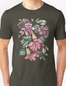 Red Trumpet Vine flowers on blue Unisex T-Shirt