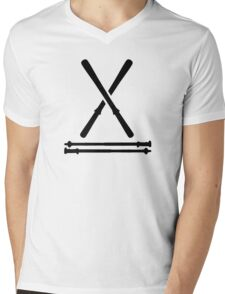 Ski equipment Mens V-Neck T-Shirt